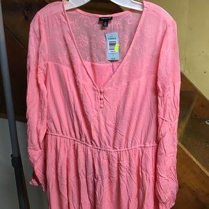 Torrid coral pink crepe dress.
